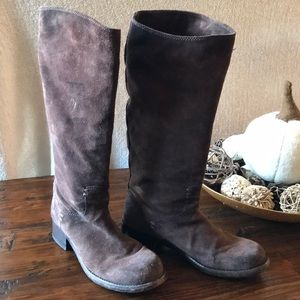 Frye Brown Suede Tall Pull On Boots